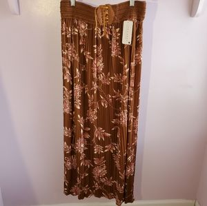 Jon & Anna Long Dark Brown Floral Maxi Skirt